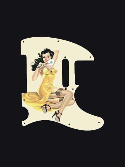 brunette Pinup girl pickguard in yellow dress