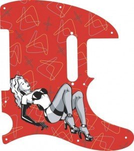 Drawing of blonde pinup girl in black lingerie with a background pattern on a red telecaster pickguard