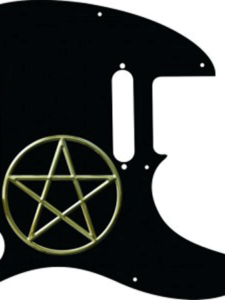 black Telecaster pickguard with a pentagram