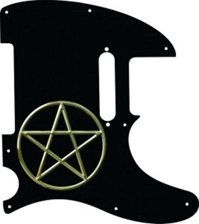 black Telecaster pickguard with a pentagram